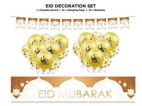 Eid Mubarak Decoration 21 pc Set - (White & Gold)