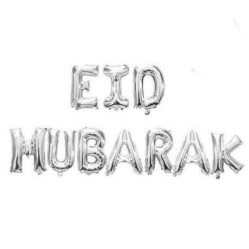 16 Eid Mubarak Foil Letter balloons-Sliver