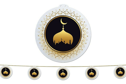 Large Garland (Mosque in Circle White/Gold and Black) 2021