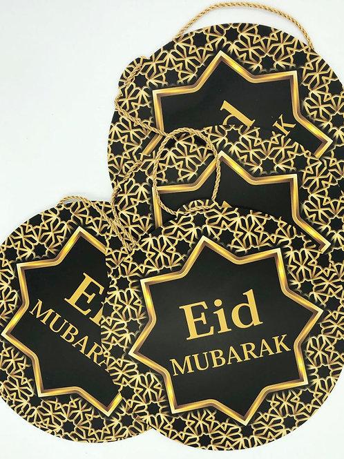 Eid Mubarak Arabesque Star Large (5) Garland (Black/Gold)