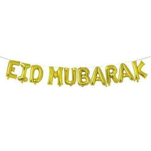 16 Eid Mubarak Foil Letter balloons-Gold