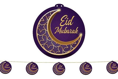 Eid Garland LARGE (Purple/Gold Crescent) 2021