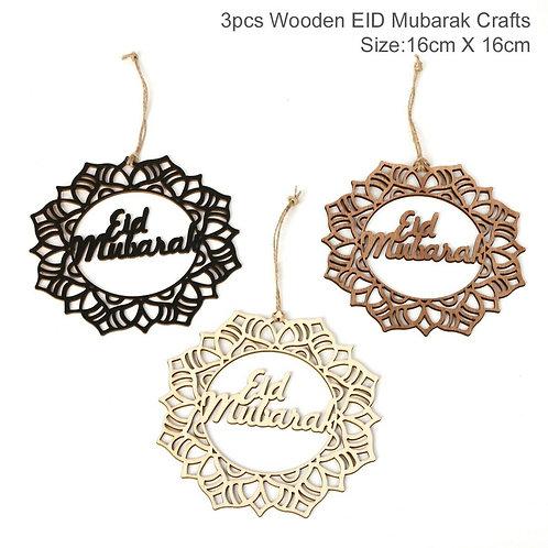Eid Ramadan Mubarak Decor Wooden Hollow Hanging Plaque Ornament