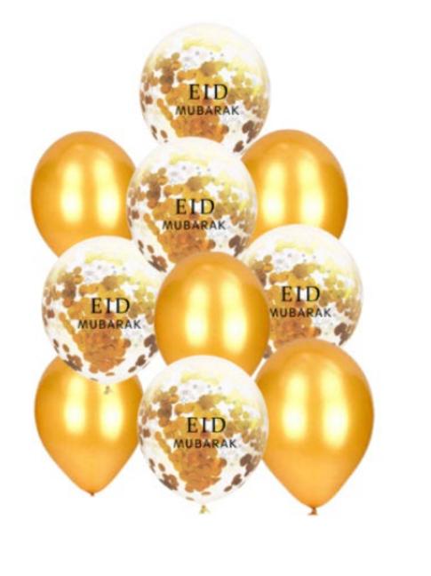 10x  Eid Mubarak Gold and Confetti Balloon