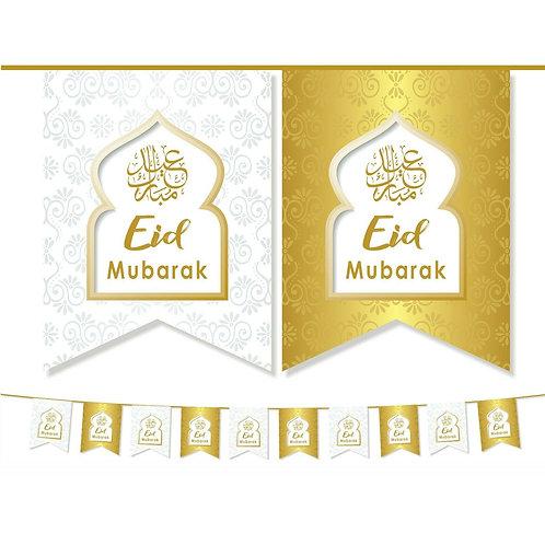Eid Mubarak Double Bunting ( White/ Gold ) 2021