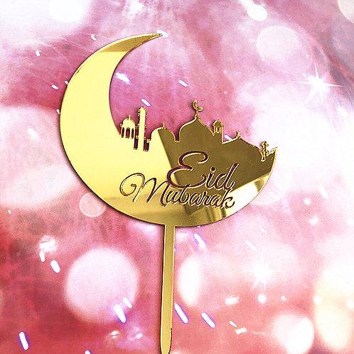 Eid Mubarak Acrylic Cake Topper Decorations ( Gold )
