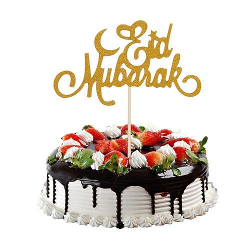 EidID Mubarak - Gold Glitter  1Pc cake topper