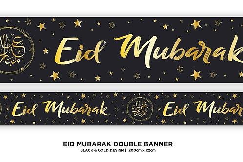 Eid Mubarak Double Banner ( Black/ Gold Star 2021
