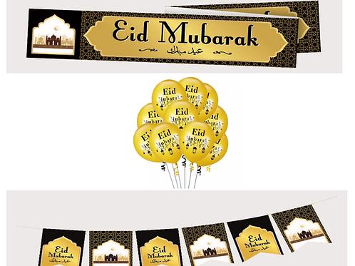 Eid Mubarak  Black & Gold- Set
