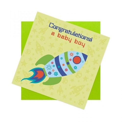 Baby Boy Card - Rocket