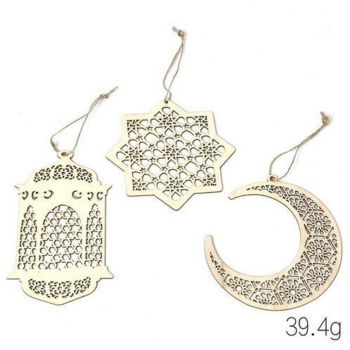 3pcs Eid / Ramadan Mubarak - Wooden Hanging Lantern