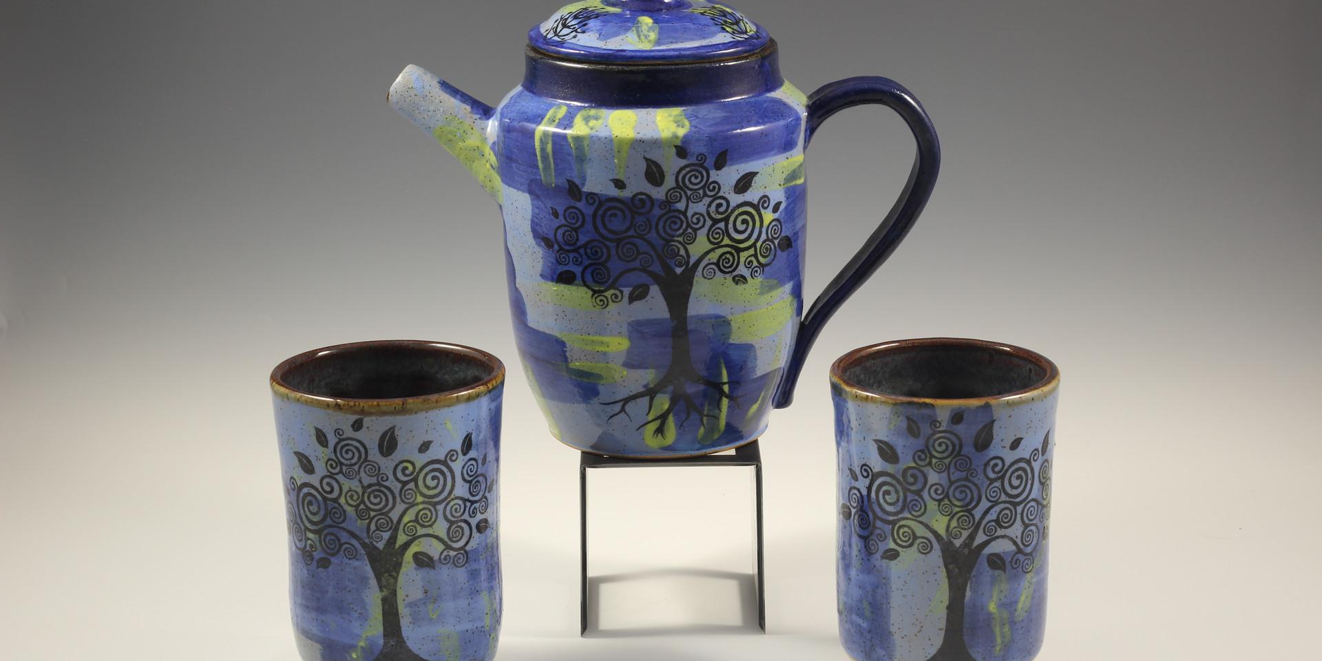Whimsical Tree/Tree of Life Tea Pot Set