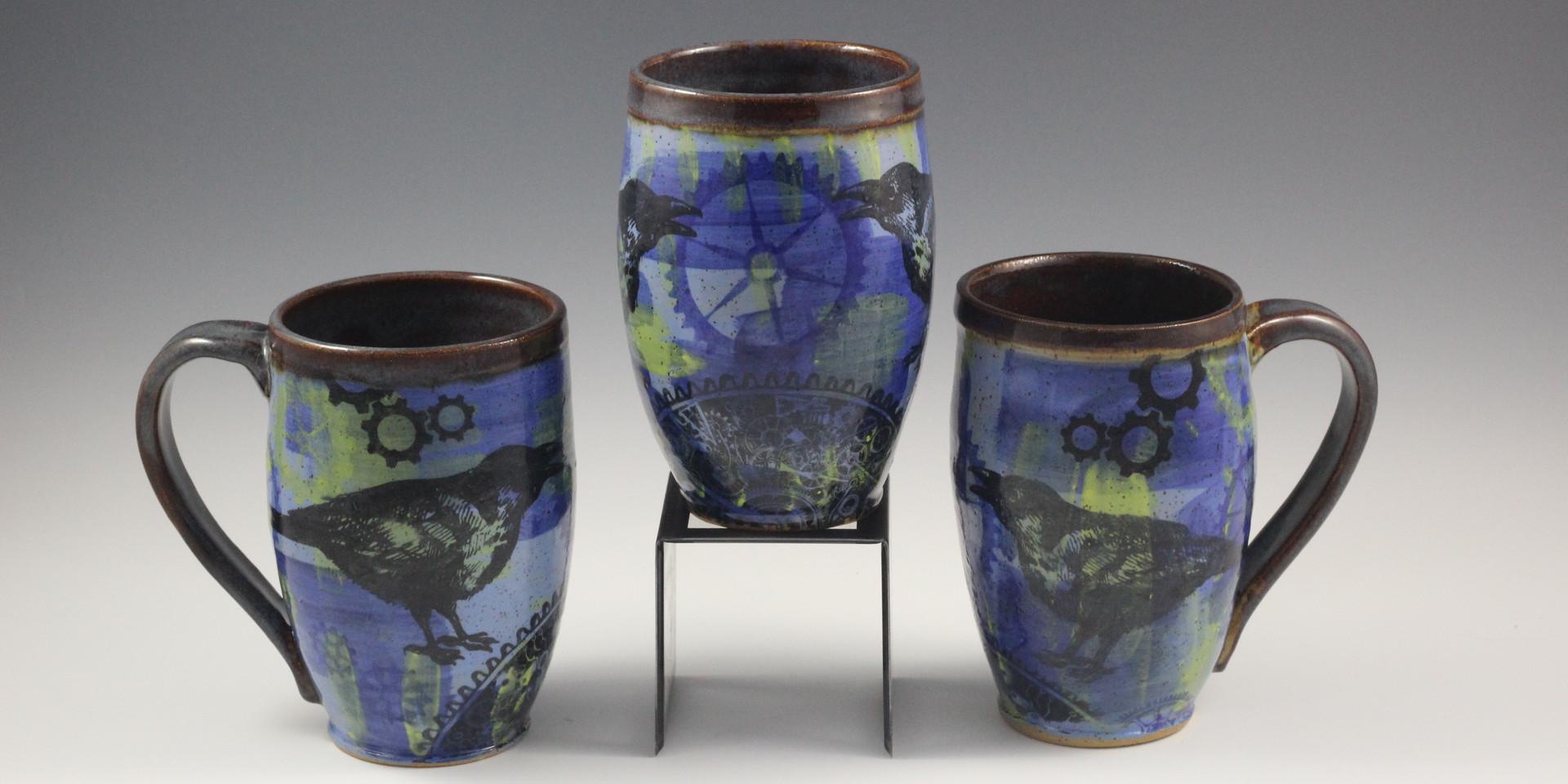 SteamPunk Raven Mugs