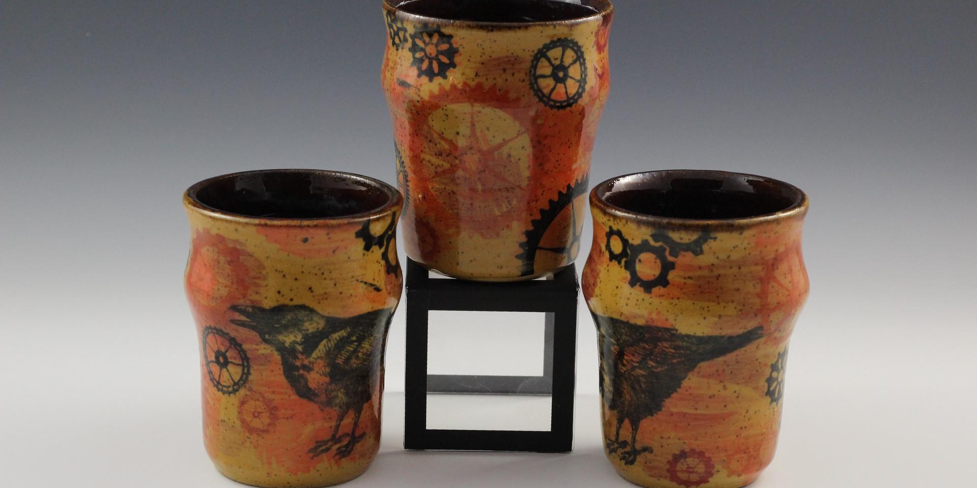 SteamPunk Raven Cups