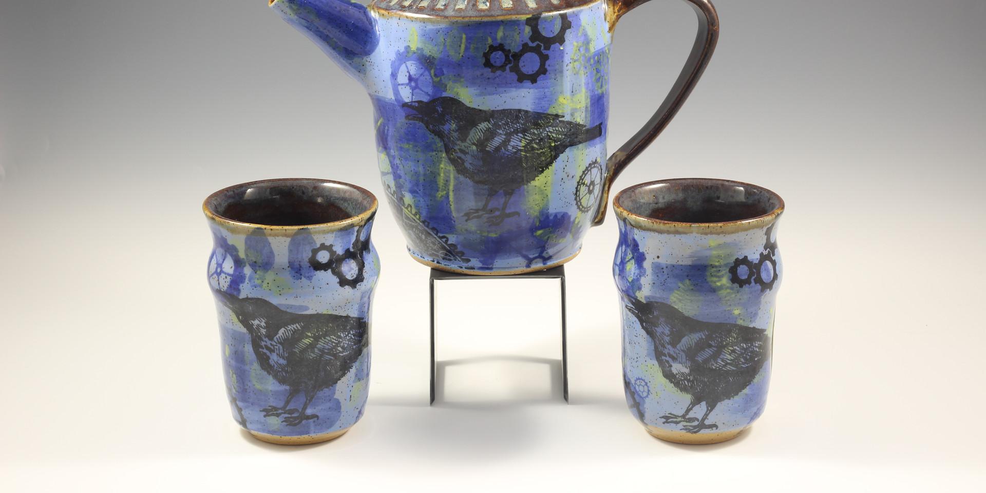SteamPunk Raven Tea Pot Set