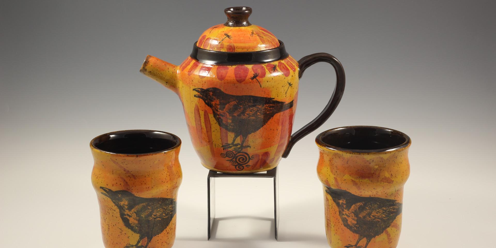 Desert Raven Tea Pot Set