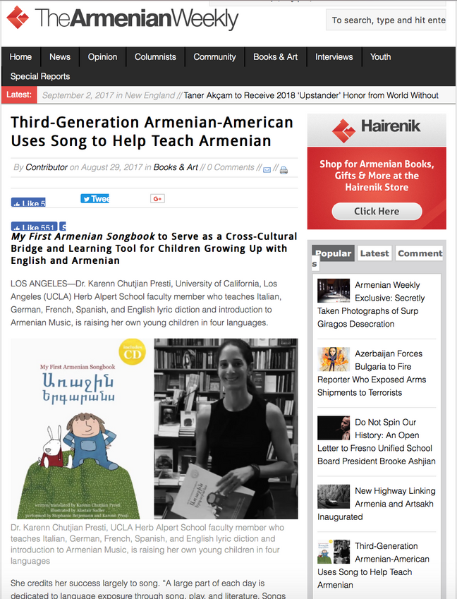 """Songbook"" featured in the Armenian Weekly"
