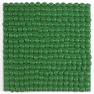 "Glass Beads and Enamel on Canvas 12"" x 12"" 1999-2000"