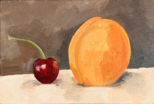 Cherry with Curved Stem & Apricot Still (Still Life 20)