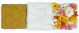 Collage of three Mixed Media Canvas with Fake Flowers, Fake Fur, Enamel and Roll-a-Tex 1999-2000