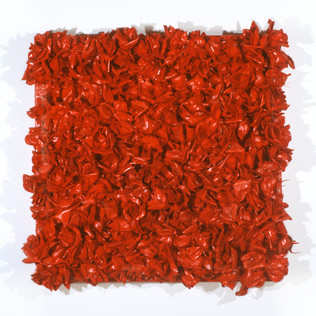 "Fake Flowers and Enamel on Canvas 36"" x 36"" 2000"