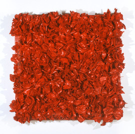 """Fake Flowers and Enamel on Canvas 36"""" x 36"""" 2000"""