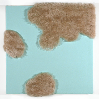 "Fake Fur and Enamel on Canvas 12"" x 12"" 1999-2000"