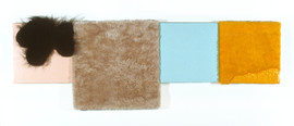 """Collage of four Mixed Media Canvases with Fake Fur and Enamel 44"""" x 14"""" 1999-2000"""