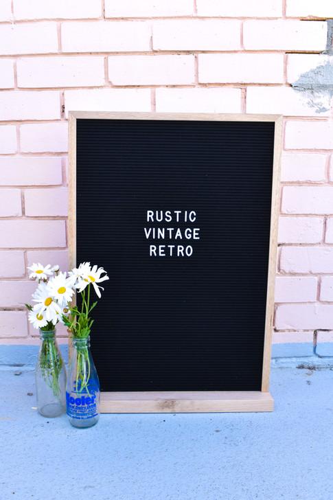 Letter Board, Rustic Vintage Retro, Milk Bottles,