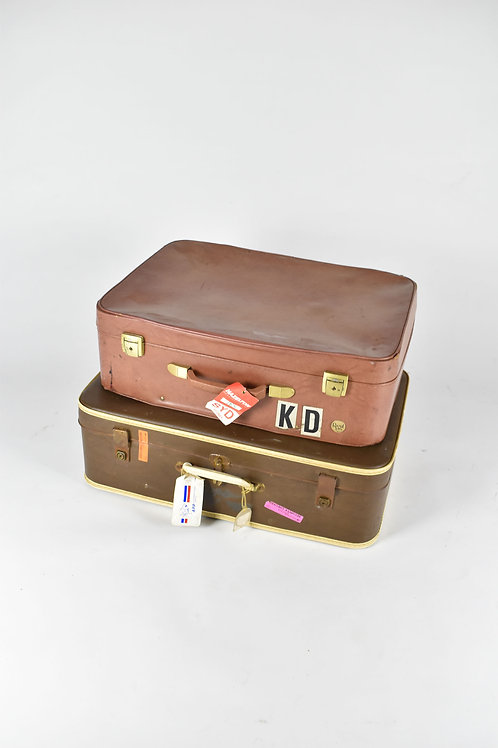Tan and Brown Retro Suitcases