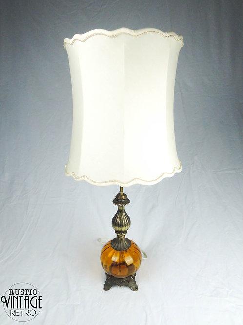 Orange Glass and Brass Lamp
