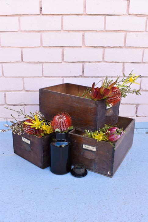 Vintage Timber Drawers, Vintage Wedding, Glass Medicine Bottles,