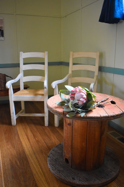 Farmhouse Chairs & Cable Reel