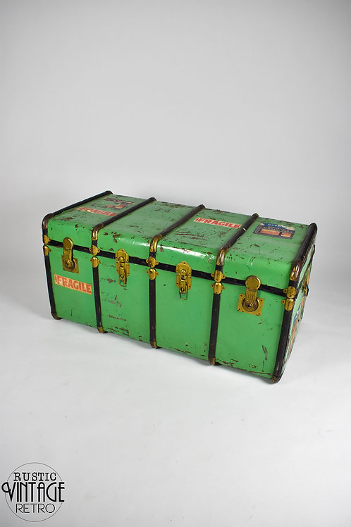 Large Vintage Mint Green Travel Trunk / Coffee Table