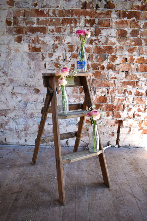 Rustic Ladder, Milk Bottles