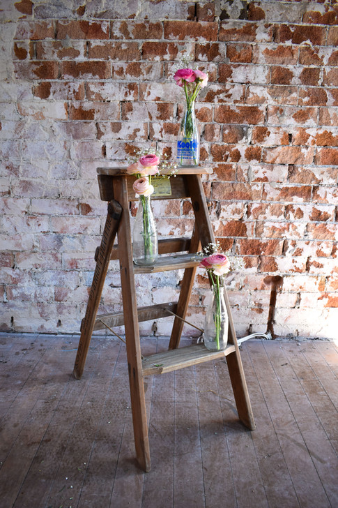 Rustic Ladder, Milk Bottles