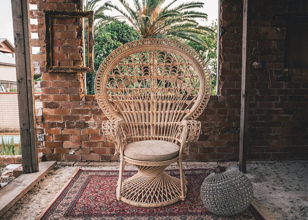 Peacock Chair, Vintage Rug, Chandelier, Rustic Shoot