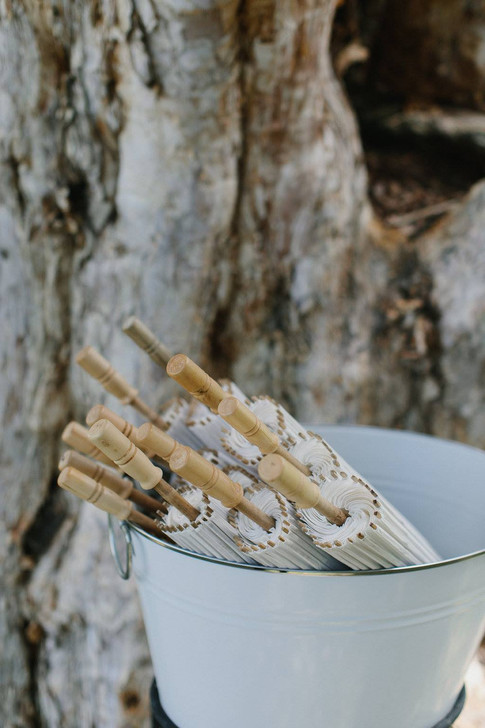 Rustic Champagne Bucket, White Paper Parasol, Rustic Wedding, Event Hire
