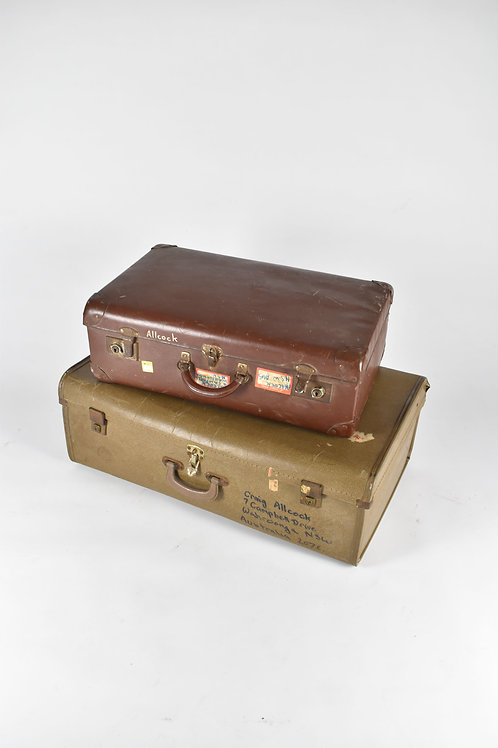 Red and Brown Suitcases
