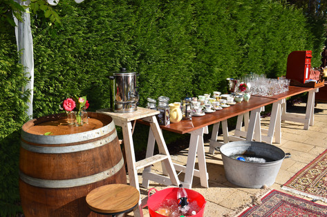 Trestle Table, Wine Barrel, Rustic Ladder, Wedding, Event, Vintage Iron Bucket, Vintage Rugs,