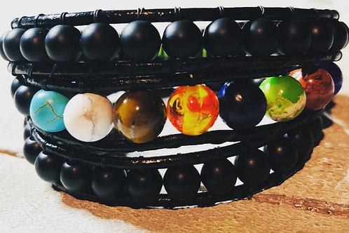 Chakra Wrap Leather Bracelet