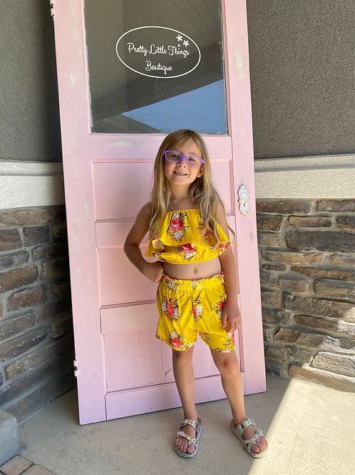 Girls Floral Summer set Vest-short