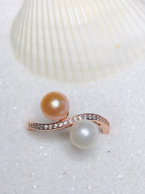 Rose Gold Double Pearl Ring