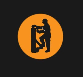 Silhouette of a worker with a gas cylinder on a trolley