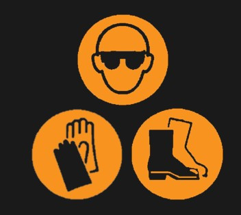 Three orange circles with Glasses, Gloves and Safety Boots