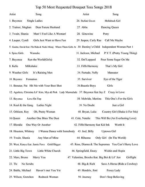 top 50 Bouquet Toss Songs 2018.jpg
