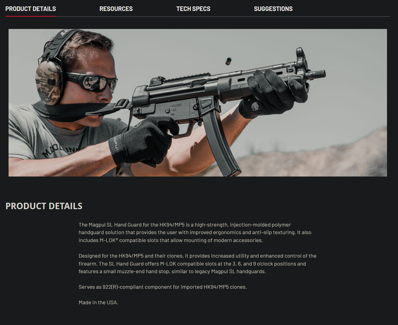 MP5 handguard product description