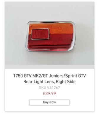 1750 GTV MK2/GT Juniors/Sprint GTV Rear Light Lens, Right Side