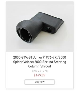 2000 GTV/GT Junior (1976-77)/2000 Spider Veloce/2000 Berlina Steering Column Shroud