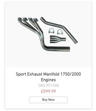 Sport Exhaust Manifold 1750/2000 Engines